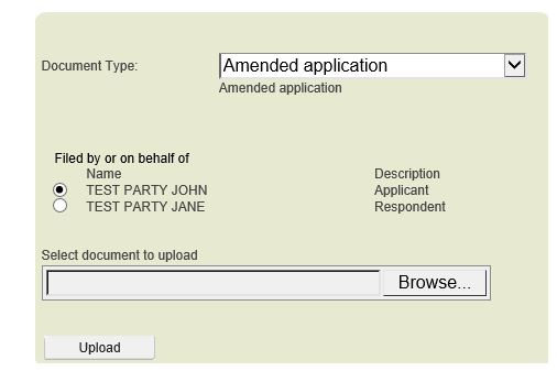 Select Amended Application and choose party
